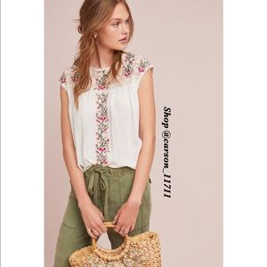 NWT Anthropologie Eloise Embroidered Blouse M